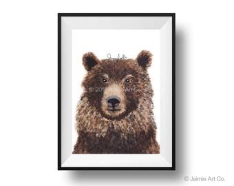Bear Art Print, Animal Wall Art, Watercolor Illustration, Childrens Art, Nursery Wall Art, Kids Wall Art, Wall Decor, Frameable Art