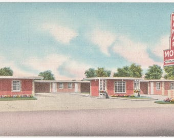 Lamar Motel  Dallas Texas  Vintage Color Linen Postcard