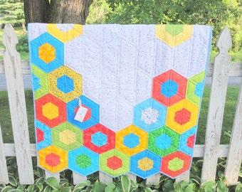 Sale on Modern Hexagon Baby Quilt