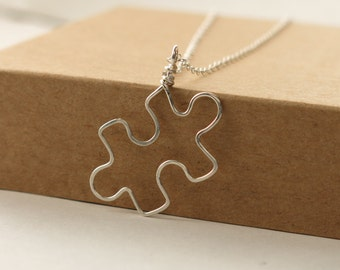 Puzzle Piece Necklace . sterling silver puzzle necklace for Autism Awareness jewelry