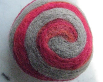 One multi-colored felted pin-cushion, Red and Gray