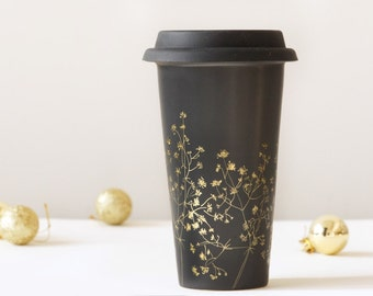 Gold and Black Ceramic Eco-Friendly Travel Mug | Baby's Breath Collection