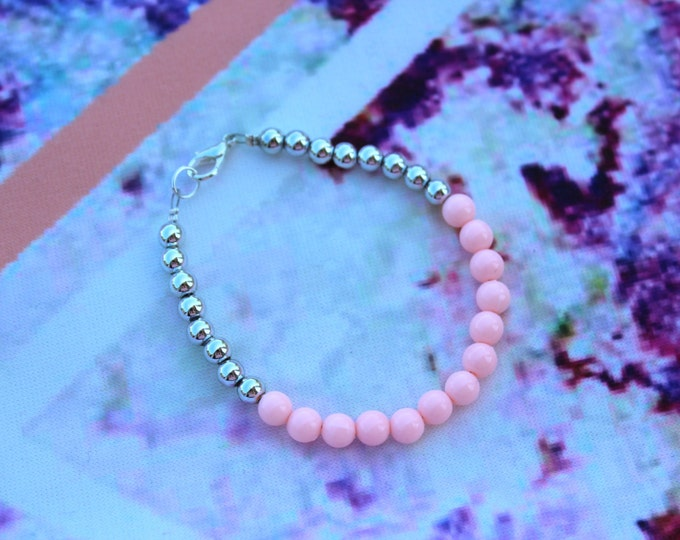 Baby Pink and Silver Dip Dyed Ombre Style Bracelet.