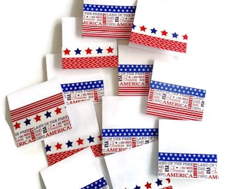 Place cards, Food cards, mini cards - Red White and Blue - 4th of July mini cards -  Patriotic mini cards - Party cards - Summertime cards.