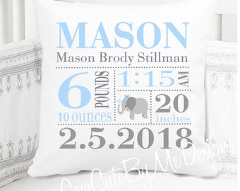 Boys Birth Announcement Pillow - Elephant - Blue Grey