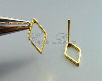 4 small 12mm diamond shape post earrings, stud earrings, geometric jewelry, earrings 1067-MG-12 (matte gold, 12mm, 4 pieces)