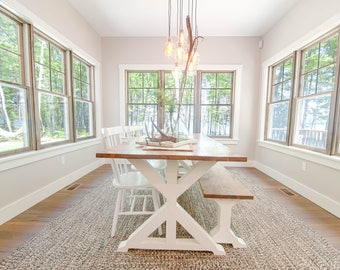 Trestle Style  Wood Dining Table, Wood Table,  Dining Table, Rustic Table, Farmhouse Table, Reclaimed Wood option available
