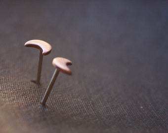 crescent moon studs | copper on recycled sterling silver posts | single, pair, three