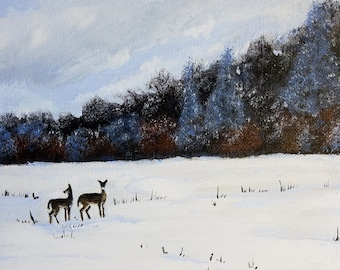 snowscape painting, wildlife art, deer painting, winter wonderland art