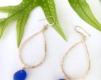 Cobalt Blue Sea Glass Teardrop Earrings, Hammered 14kt Gold Fill