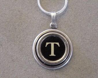 Typewriter key jewelry Necklace BLACK LETTER T  Typewriter key necklace Initial Necklace serif font T