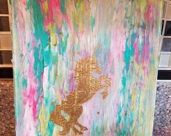 Unicorn Mixed Media Art - Original Artwork Shiny Gold