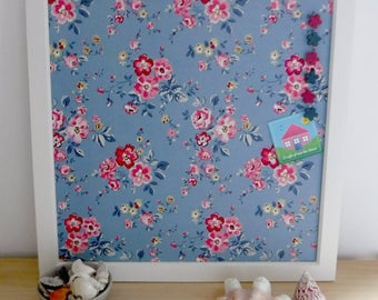 Box frame pin board with floral fabric