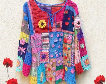 Crochet top colorful boho tunic Bohemian Gypsy Freeform Patchwork Designer Lace Blouse Pullover Sweater Plus Size / IN STOCK