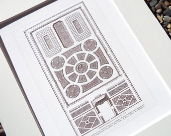 French Garden Geometric Plan 7 In Sepia Archival Print on Watercolor Paper