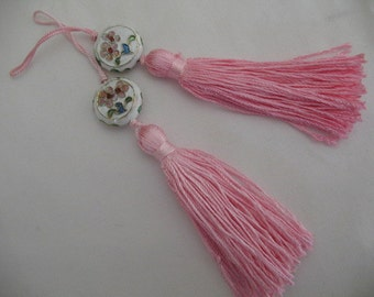 2 Luxe Pink Silk TASSELS with charm jewelry making