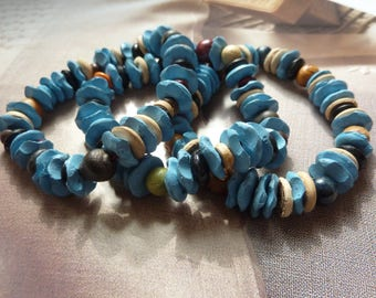Set of 3 bracelets, organic, rustic wood beads