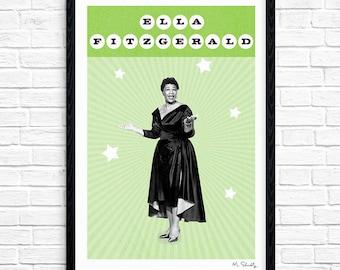 Ella Fitzgerald - Superstar, Jazz Singer, Music Print, Legend, Music Gift, Music Typography, Poster Design, A4, A3.
