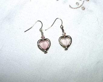 Pink and Silver Heart Dangle Earrings, Swarovski Crystals, Heart Shaped, French Ear Wires, Drop Earrings, Bridesmaid, Wedding, Prom