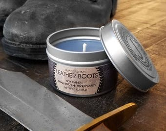 Leather Boot Soy Candle 3 oz | Men's Gift