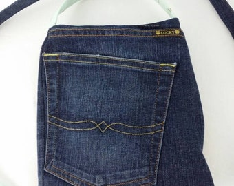 """Upcycled Lucky Denim Jean & Floral Crossbody With a Long 59"""" Strap Hands Free Purse"""