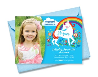Unicorn Rainbow Birthday Invitation, Photo Invitation, Printable, Customized text invitation, Girl's Birthday Party, Unicorn Floral party