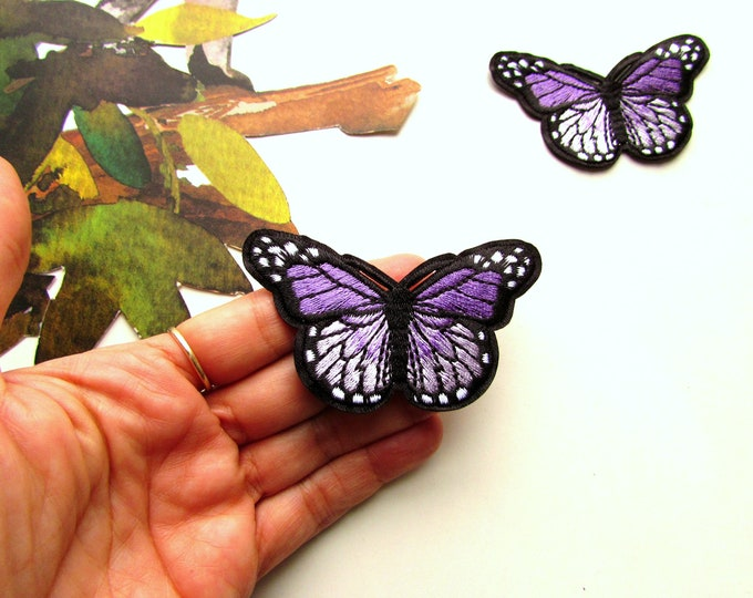 1 Purple butterly patch - Iron-on butterfly applique - Embroidered butterfly - Butterfly iron on patch - Butterfly -  Purple iron on patch