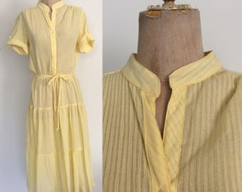 1980's Yellow Polyester Dress w/ Tiered Skirt Size Small Medium Large by Maeberry Vintage