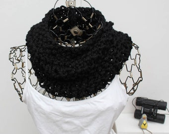 Black Chunky Loose Knit Cowl Loose Knit Cozy Chunky Knit Neck Warmer Chunky Knit Cowl The Napali Onyx Black Cowl Fashion Infinity Scarf