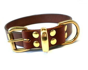 "1"" Rich Brown Chahin English Bridle Plain Leather Dog Collar with Solid Brass Hardware"