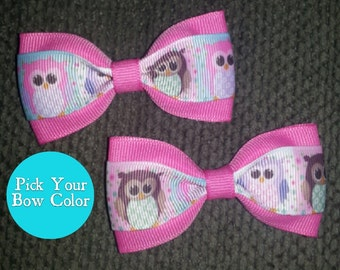 Owls Handmade Pigtail Bow Set