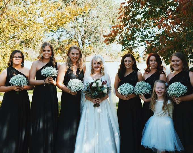 Romantic Lace Strap- Octopus Infinity Wrap Dress- Custom combine fabrics- Shown in Black and Forest Green Lace- Bridesmaids, Maternity, Plus