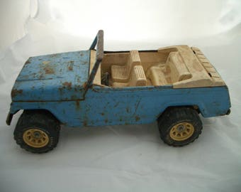 """Vintage Tonka Jeep Jeepster Convertible Pressed Steel Truck Blue 13"""""""