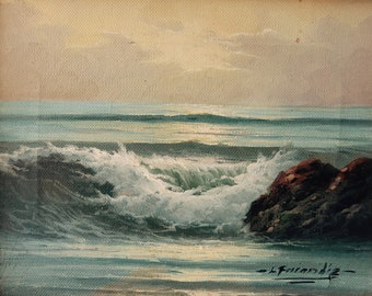 VINTAGE OCEAN PAINTING - Small framed oil painting of crushing waves on rocks from the 80's