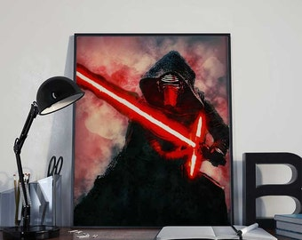 Kylo Ren lightsaber Star Wars Art Print Poster - Episode VII The Force Awakens PRINTABLE 8x10 inches - Ideal Last Minute Gift