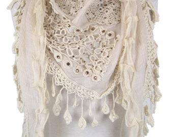 Triangle special occasion scarf shawl wrap diamantes & decorative trim - cream - CFOC0583