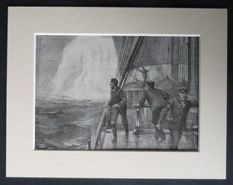 1904 Antique Nautical Print of a Sailing Ship About to Strike an Iceberg Edwardian sailing decor, boys' adventure artwork - Old Sailor Gift