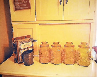 70's Vintage Amber Glass Canisters - Set of Four for the  Kitchen in Excellent Condition  With Reduced Shipping