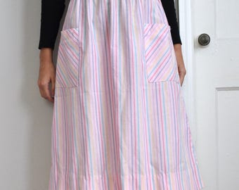 Vintage 80s Pink Pastel Multicolor Stripe Midi Skirt with Pockets, Size 27 Waist