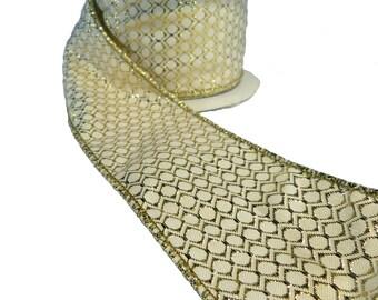 "Metallic Gold Circle Grid On Cream Wired Ribbon  2.5"" Wide"