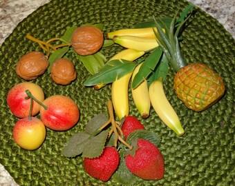 Fake Fruit / Faux Fruit / Fake Strawberries / Fake Pineapple / Fake Bananas / Fake Peaches / Fake Walnuts / Fake Foliage