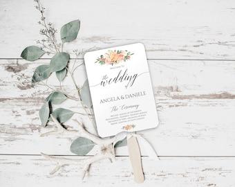 Blush Wedding Program Fan Template, Peach Blush Wedding Program, Blush Wedding, Blush Wedding Ideas, Wedding Programs Instant Download, 6046