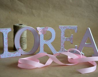 Decorated wooden letters baby children names