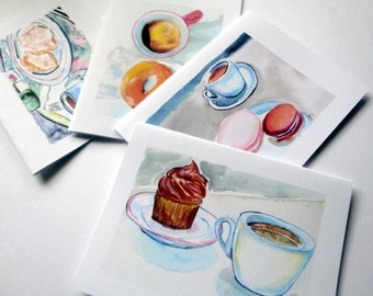 Coffee Cards, Cafe and Sweets Watercolor Art Notecards, Set of 8