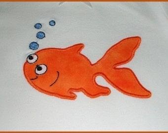 INSTANT DOWNLOAD Goldie the gold fish Applique design