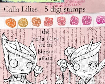Calla Lillies - 5 digi stamp bundle in png and jpg files