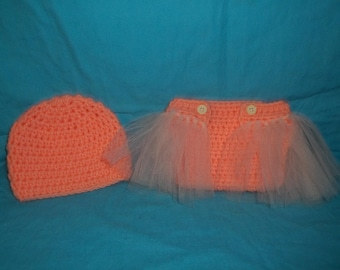 Hat and Diaper cover Tutu set