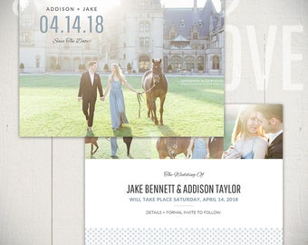 Save The Date Card Template: Beginnings Card A - 5x7 Engagement Card Template