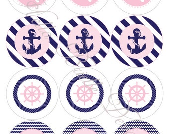 Classy Nautical Party Printable Cupcake Toppers in Pink - Instant Digital Download