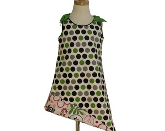 Black and Green Polka Dot and Floral Reversible Sundress
